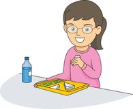 girl eating lunch in school cafeteria clipart