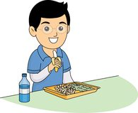 male student eating lunch in school cafeteria clipart