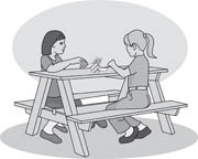 Girls eating lunch on a picnic bench